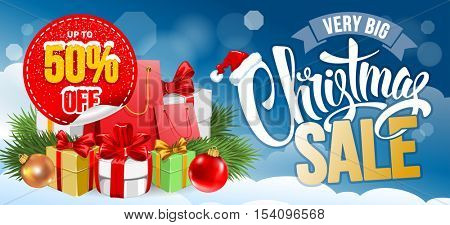 Christmas Sale Design Template. Calligraphy Inscription Christmas Sale and Heap of Christmas Gifts on Blue Snowy Background. Easy to edit and Customize. Vector Stock Illustration.