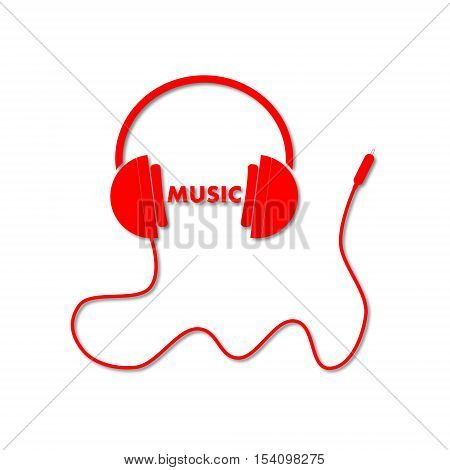 Headphone with cord and word Music icon