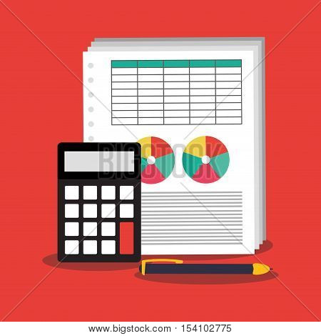 Invoice document calculator and pen icon. Business finanace payment and tax theme. Colorful design. Vector illustration