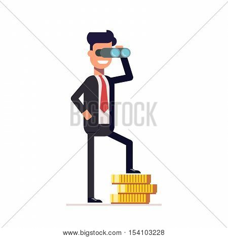 Businessman looking through binoculars, and is on the money. Happy man in a business suit thinking about investments. A man looks into the future. Vector illustration in a flat style