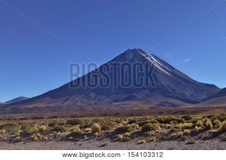 Licancabur volcano on the southernmost part of the border between Chile and Bolivia.