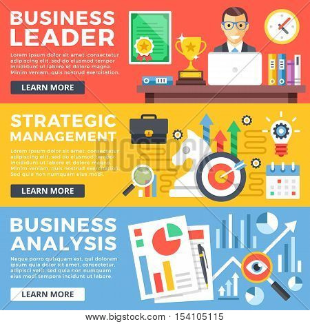 Business leader, strategic management, business analysis flat illustration concepts set. Flat design graphic for web sites, web banners, printed materials, infographics. Modern vector illustrations