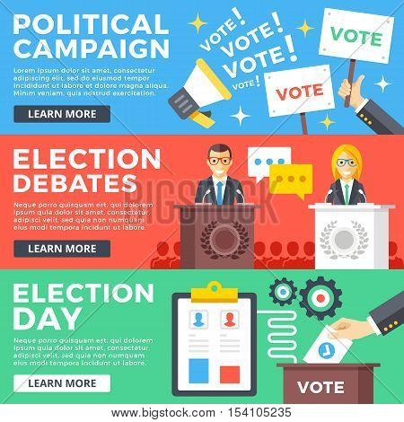 Political campaign, election debates, election day flat illustration concepts set. Flat design graphic elements for web sites, web banners, printed materials, infographics. Modern vector illustration