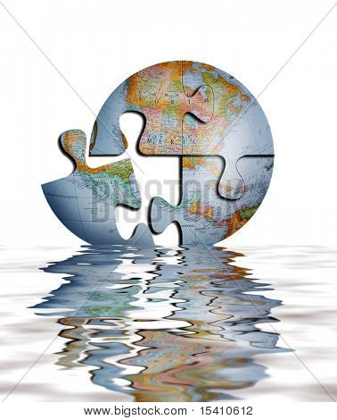 Earth Puzzle In Water From Detailed Photograph Of Globe