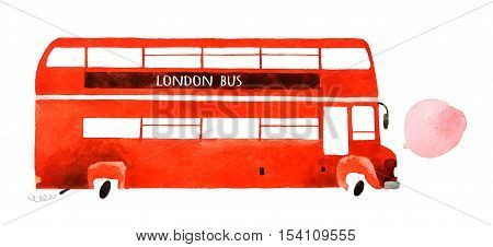 Beautiful cartoon double decker bus isolated on white background. Hand drawn watercolor double decker bus for your design.