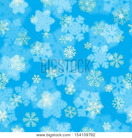 Christmas Seamless Pattern Of Fuzzy And Focused Snowflakes