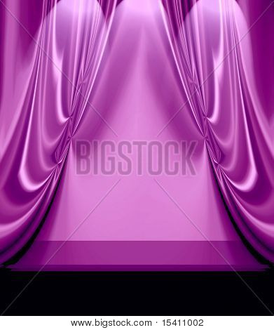 Purple Drapes On Empty Stage