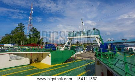 Menumbok,Sabah-Nov 30,2016:Ferry with vehicles on board,carries passengers & vehicles from/to Labuan island.Most economical & convenient trade route that connect Labuan island and the Sabah,Borneo.