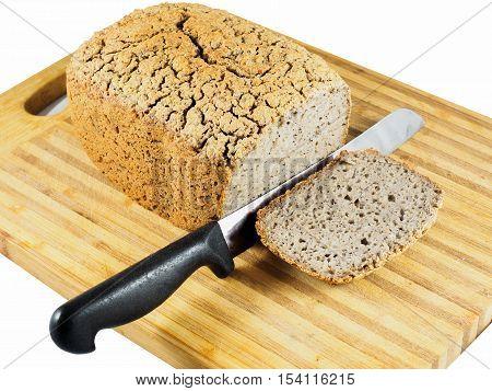Gluten-free fermented buckwheat bread on cutting board