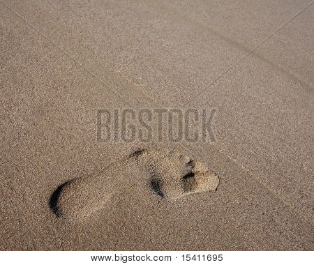 Footprint On Beach Sand