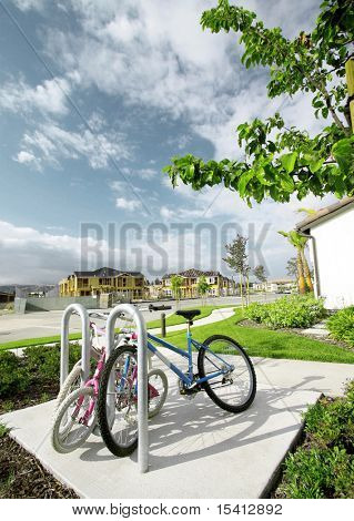 Parked Bicycles With New Homes Construction In Background