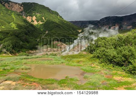 Utinoye Dack Lake in Valley of Geysers. Kronotsky Nature Reserve on Kamchatka Peninsula.