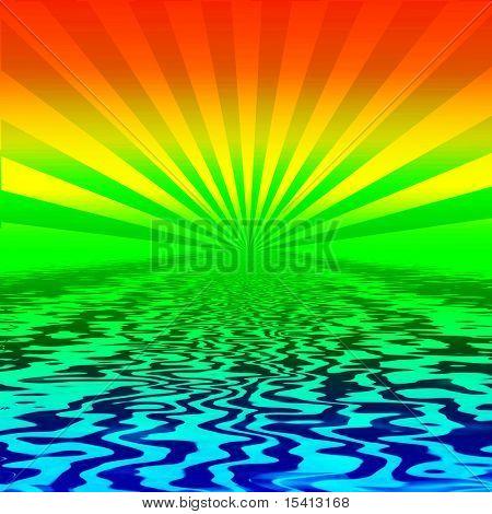 Rainbow Burst On Water