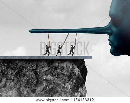 Supporting corruption as a group of accomplice people providing support to a lier with a long lying nose as a dishonesty metaphor and accessory to a crime symbol helping to prop up fraud with 3D illustration elements.