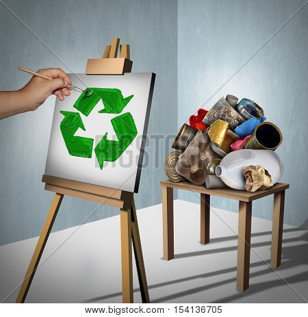 Recycling concept as a pile of recyclable trash as plasticmetal and paper with a creative environmentalist painting a recycle symbol on a canvas with 3D illustration elements.