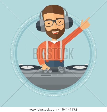 Caucasian hipster young DJ with the beard mixing music on turntables. Young DJ in headphones enjoying by playing and mixing music. Vector flat design illustration in the circle isolated on background.