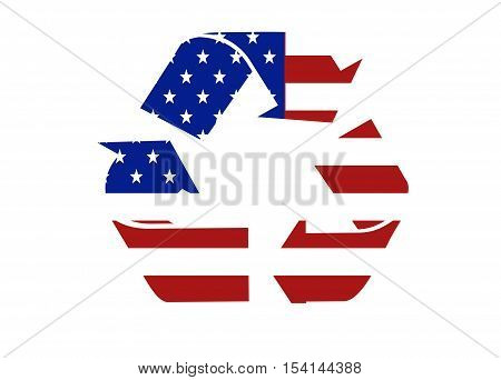 US flag recycle symbol logo on a solid background