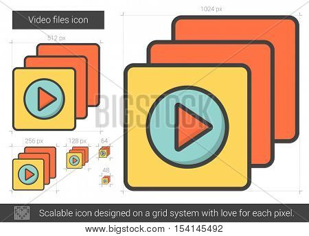 Video files vector line icon isolated on white background. Video files line icon for infographic, website or app. Scalable icon designed on a grid system.