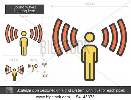 Sound waves hearing vector line icon isolated on white background. Sound waves hearing line icon for infographic, website or app. Scalable icon designed on a grid system.