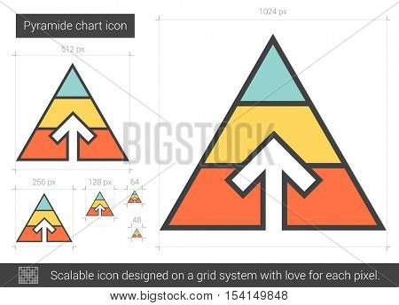 Pyramid chart vector line icon isolated on white background. Pyramid chart line icon for infographic, website or app. Scalable icon designed on a grid system.