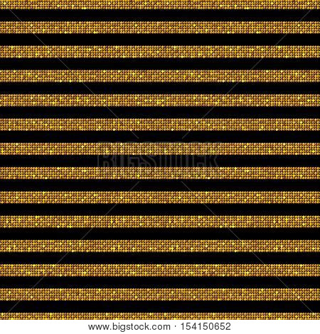 The parallel Horizontal lines on the black background. Background made of Gold sequins. Mosaic sequins glitter sparkle stars. Parallel.