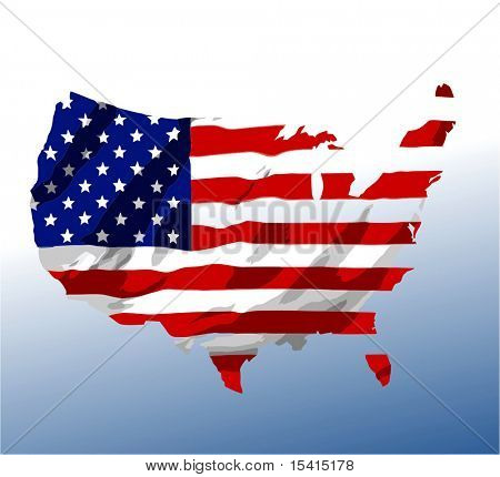 Vector America Flag Map