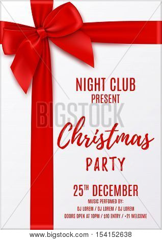 Merry Christmas party invitation. Top view on Xmas gift box with red bow and tapes. Design of flyer to night club. Vector illustration.