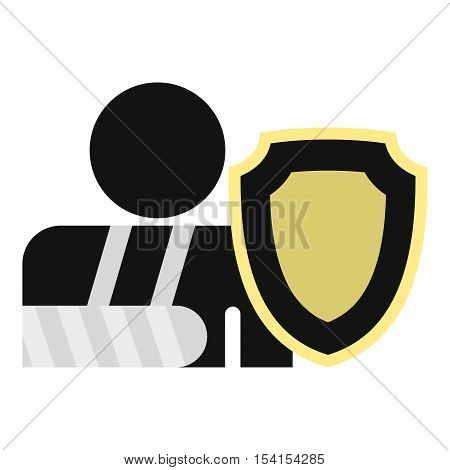 Broken arm and shield icon. Flat illustration of broken arm and shield vector icon for web