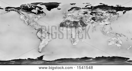 High Resolution Black And White World Map With Continents