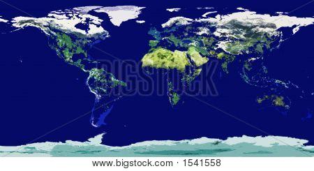 High Resolution Cartoonish Colored World Map