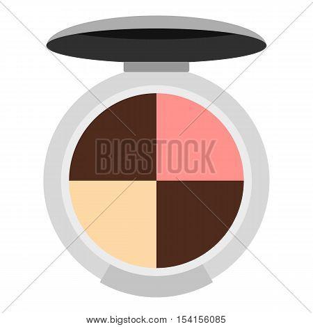 Round palette eye shadow icon. Flat illustration of round palette eye shadow vector icon for web