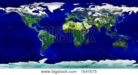 High Resolution Cartoonish Colored World Map - Liquid Earth