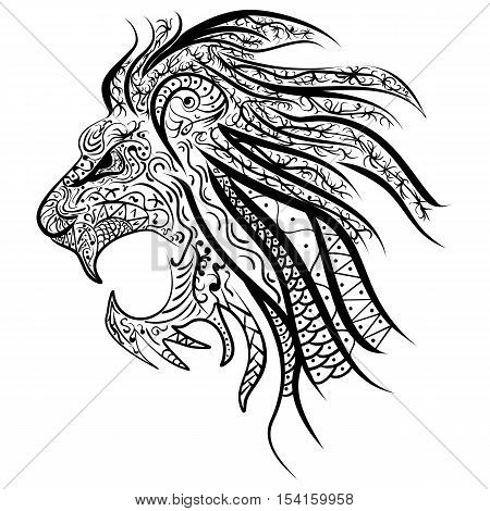 Lion's head painted tribal ethnic ornament. African design. Hand-drawn Lion with ethnic doodle pattern.