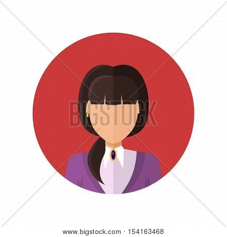 Young woman private avatar icon. Young brunette woman in white shirt and purple jacket. Social networks business private users avatar pictogram. Isolated vector illustration on white background.