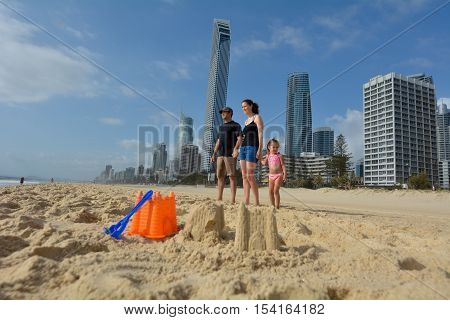 Family visit in Surfers Paradise in Gold Coast Queensland Australia.