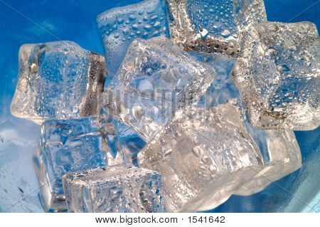 Melting Ice Cubes Closeup  On Blue Background (B5)