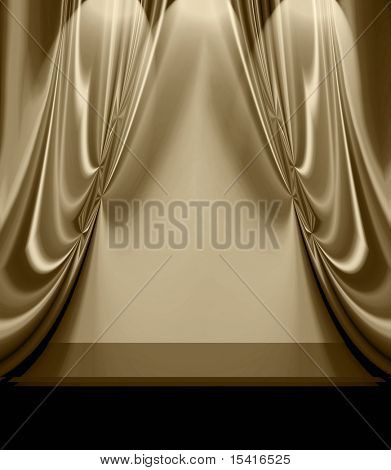 Beautiful Drapes On Empty Stage