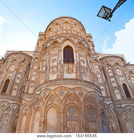 The Monreale Cathedral built in mix of different styles - Byzantine French Norman and Arab it's apse decorated with stone carving and inlay Sicily Italy.