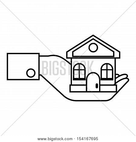 Hand holding house icon. Outline illustration of hand holding house vector icon for web