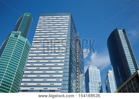 Highrise modern office buildings, low angle view.