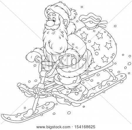 Santa Claus with his bag of Christmas gifts sliding down the snow hill on a snow-scooter