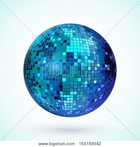 Disco ball icon. Colorful disco mirror ball isolated. Design element for party flyer poster or brochures. Vector illustration.