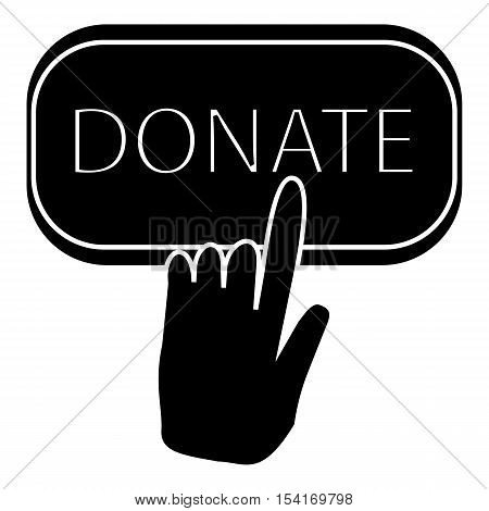 Hand presses button to donate icon. Simple illustration of hand presses button to donate vector icon for web