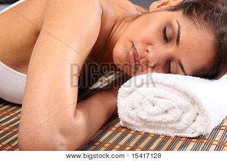 Beautiful woman rest in spa