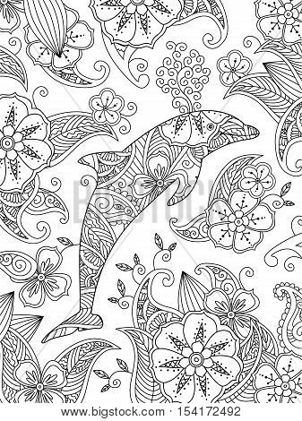 Coloring page with one jumping dolphin on floral background. Vertical composition. Coloring book for adult and older children. Editable vector illustration.
