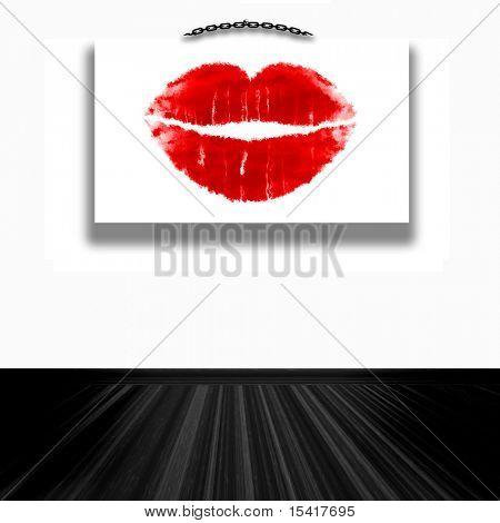 Rote Lippen Wand Kunst