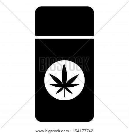Jar pills marijuana icon. Simple illustration of jar pills marijuana vector icon for web