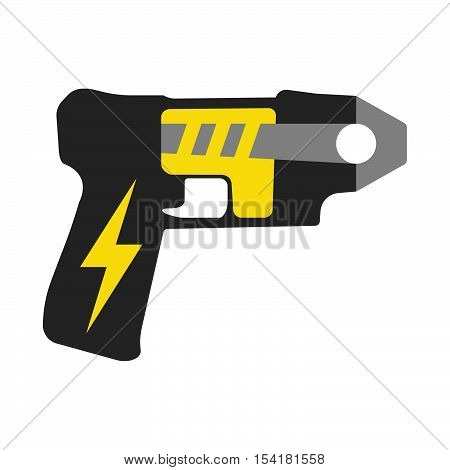 Police Taser. Elements Of The Police Equipment Icons. Protect And Serve Label. Vector Illustration.