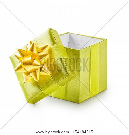 Open green gift box with yellow ribbon bow. Holiday present. Object isolated on white background. Clipping path