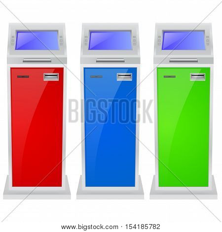 ATM. Automated teller machine. Colored set. Vector illustration isolated on white background